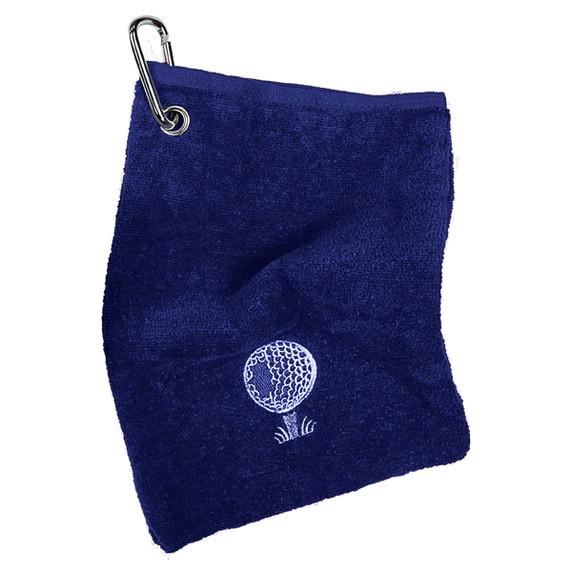 Bag Golf Towel With Carabiner- Navy