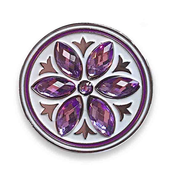 Purple Crystal Flower Golf Ball Marker