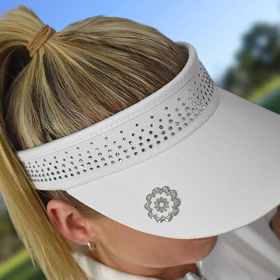 Ladies Golf Crystal Telephone wire visor with Ball Marker - White