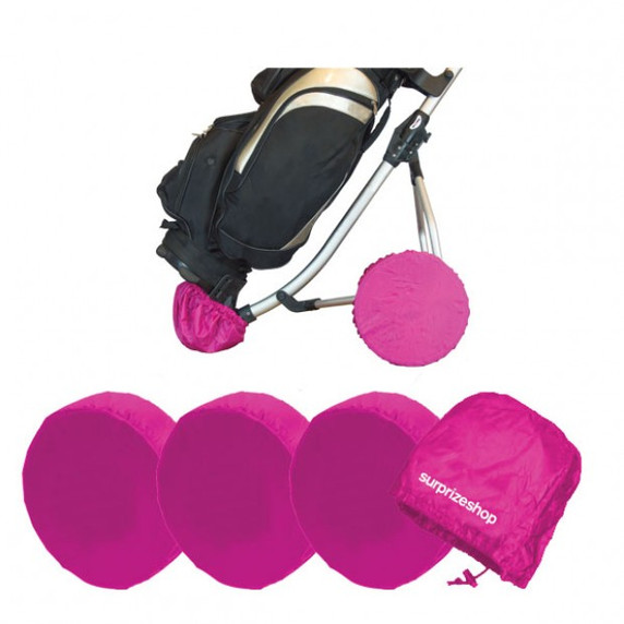 Golf Trolley Wheel Covers- Pink