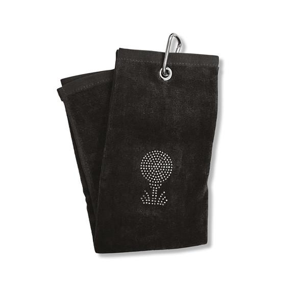 Ladies Crystal Golf Ball and Tee Tri-Fold Golf Towel- Black