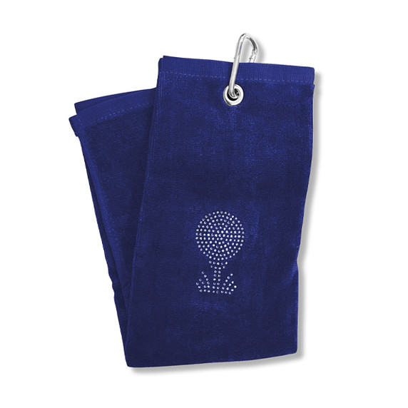 Ladies Crystal Golf Ball and Tee Tri-Fold Golf Towel- Navy