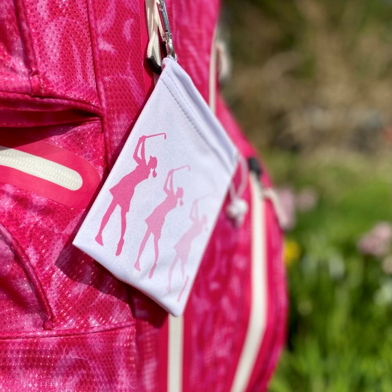 Pink Silhouette Lady Golfer