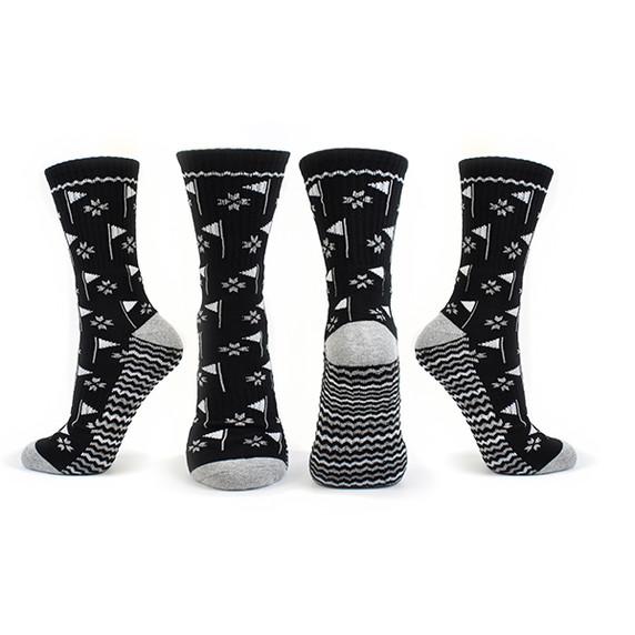 Pair of Black Ladies Golf Crew Socks with Flag Design