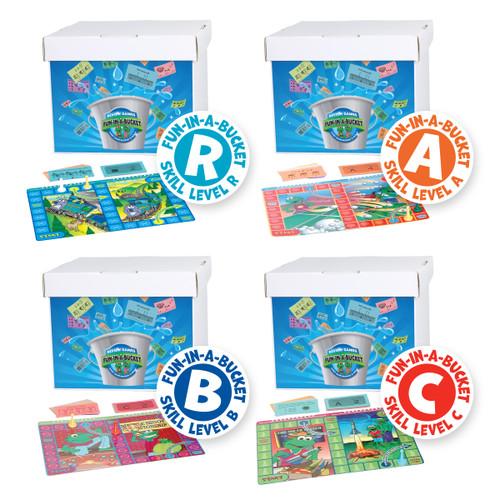 FUN-000 All 4 Math Fun-In-A-Bucket Game Sets (PK-3)