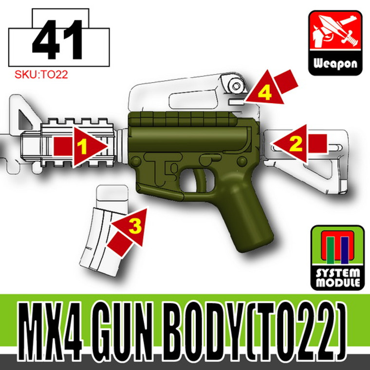 SI-DAN Tank Green MX4 Gun Body (TO22)