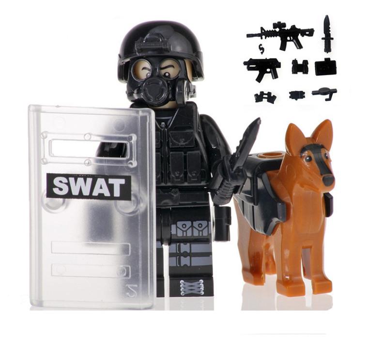 Custom Minifigure - SWAT Police with Dog #2