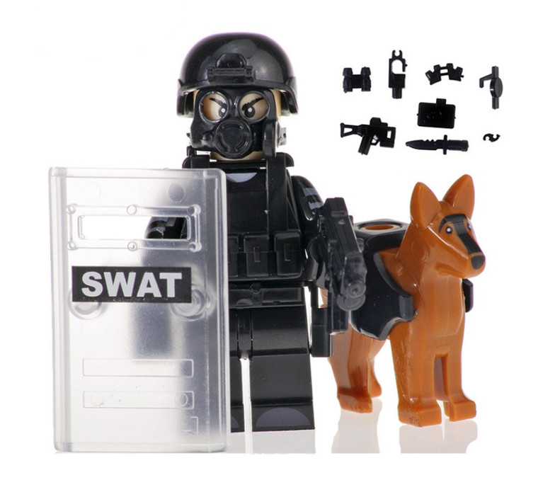 Custom Minifigure - SWAT Police with Dog #3