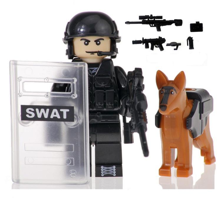 Custom Minifigure - SWAT Police with Dog #6