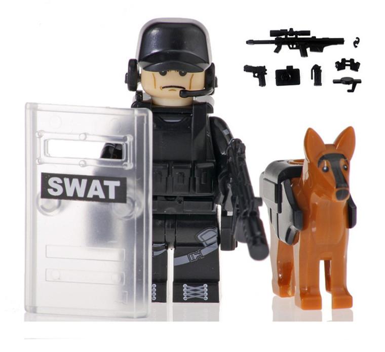 Custom Minifigure - SWAT Police with Dog #7
