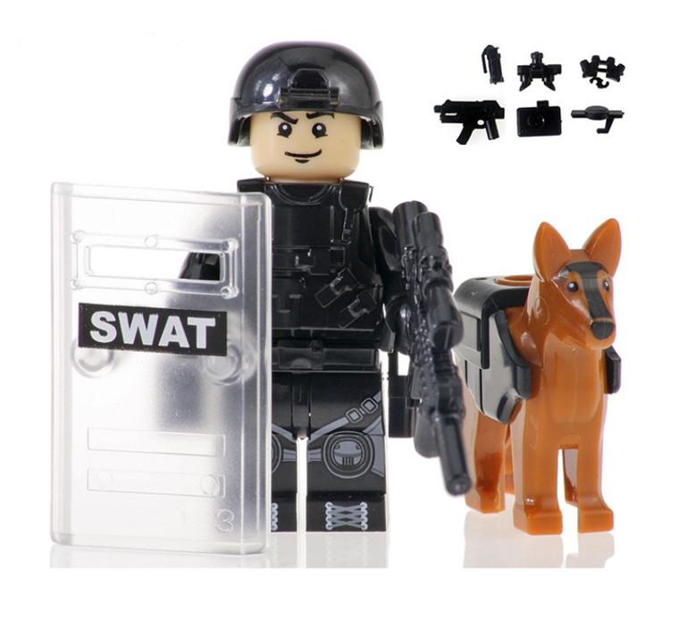 Custom Minifigure - SWAT Police with Dog #8