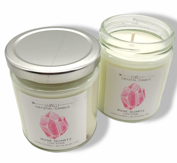Rose Quartz Crystal Candle - (Love) -  9 oz Soy Candle