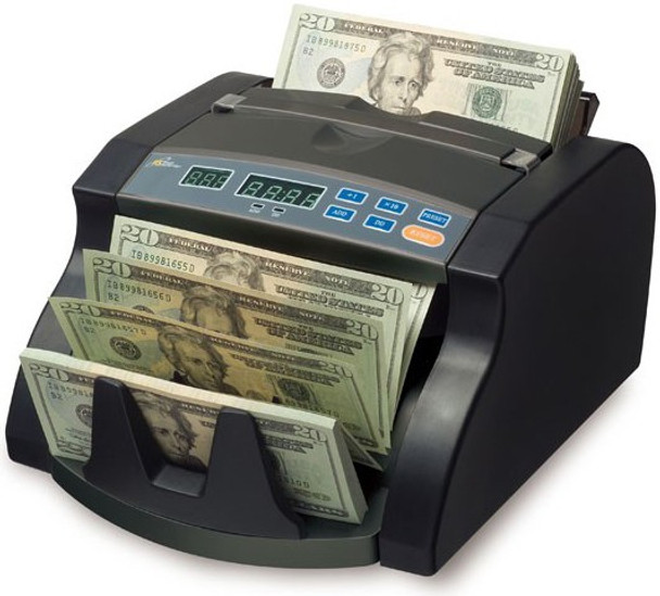 1000 Bills Per Minute Money Counter with 4 Hour Usage Cycle •Counts over 1000 bills per minute •Back load hopper holds 130 bills at a time •Convenient automatic start •Retractable handle for easy carrying •Add mode for 1-999 cumulative batch counting  •4 hour duty cycle for heavy, reliable usage