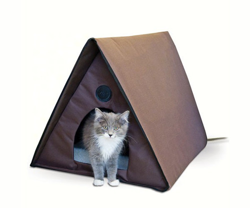 K&H Pet Products Outdoor Heated Kitty House A-Frame - Multiple Cat Capacity 40 watts