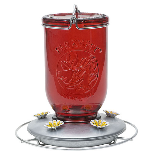 Perky Pet Glass Mason Jar 32 Ounce Hummingbird Feeder w/ Metal Base, 786 Red