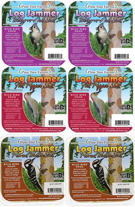 6-Pack Pine Tree Farms Suet Variety Log Jammers