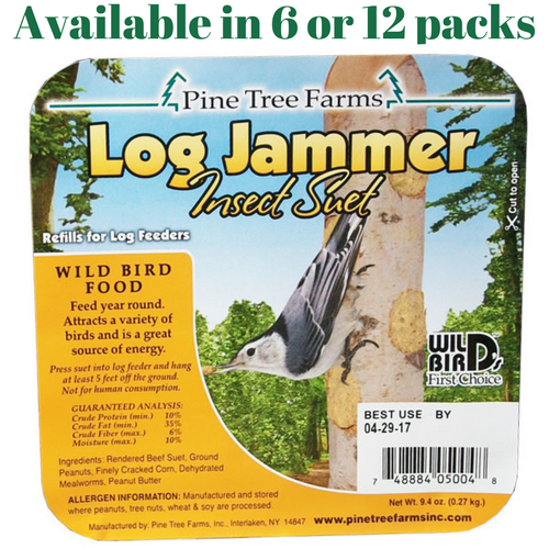 Pine Tree Farms Log Jammer Insect Suet 3 Plugs Per Pack (6 or 12 Packs)