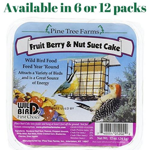 Fruit Berry & Nut Suet Cake Pine Tree Farms 12 oz. (6 or 12 Packs)