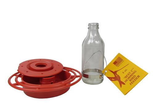Original Best-1 Clear Glass Bottle Hummingbird Feeder 8 oz.
