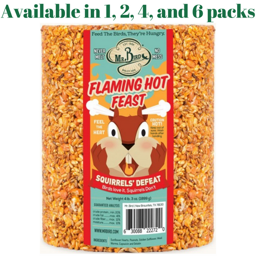 Mr. Bird Flaming Hot Feast Large Wild Bird Seed Cylinder 4 lb. 3 oz. (1, 2, 4, or 6 Packs)