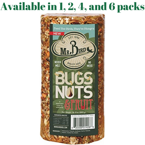 Mr. Bird Bugs, Nuts, & Fruit Small Wild Bird Seed Cylinder 24 oz. (1, 2, 4, or 6 Pack)
