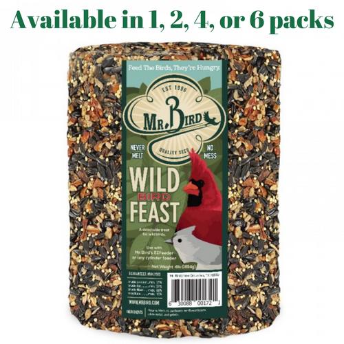 Mr. Bird Wild Bird Feast Large Wild Bird Seed Cylinder 4 lbs. (1, 2, 4 and 6 Packs)