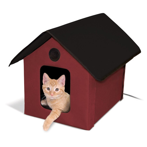 K&H Pet Products Outdoor Thermo Kitty House Red/Black