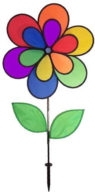 12 Petal Double Wheel Rainbow Flower Wind Spinner In the Breeze Garden Yard Decor