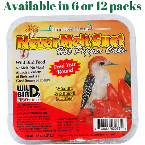 Hot Pepper Pine Tree Farm's Never Melt Suet Cake 12 oz. (6 or 12 Packs)