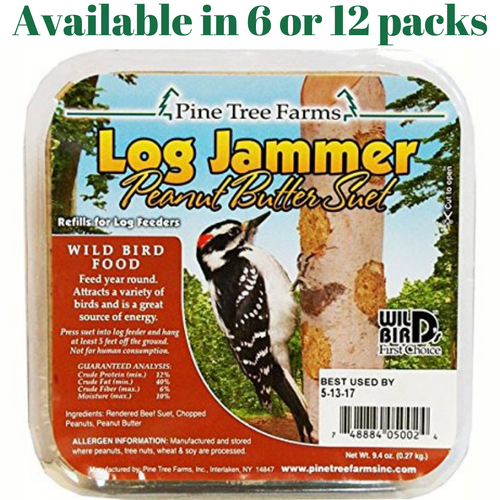Pine Tree Farms Log Jammer Peanut Butter Suet 3 Plugs Per Pack (6 or 12 Packs)