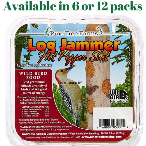 Pine Tree Farms Log Jammer Hot Pepper Suet 3 Plugs Per Pack (6 or 12 Packs)