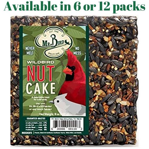 Mr. Bird WildBird Nut Cake Small Wild Bird Seed Cake 8 oz. (6 or 12 Packs)
