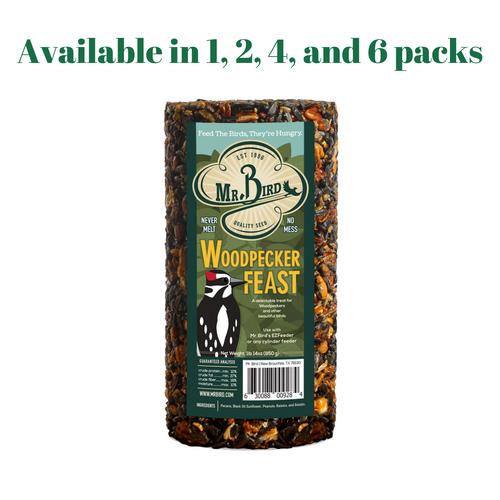 Mr. Bird Woodpecker Feast Small Wild Bird Seed Cylinder 1 lb. 14 oz. (1, 2, 4, and 6 Packs)