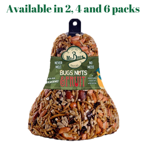 Mr. Bird Bugs, Nuts, & Fruit Wild Bird Seed Bell 12.5 oz. (2, 4 and 6 Packs)