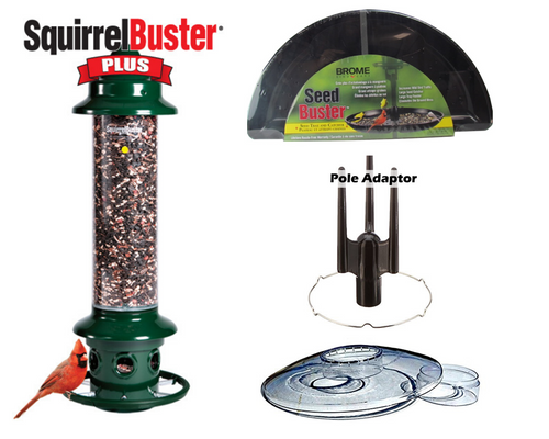 Brome Squirrel Buster Plus Bird Feeder Kit with Weather Guard, Seed Buster Tray and Pole Adapter