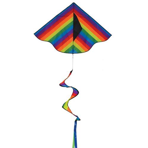 "In the Breeze Rainbow Stripe Delta Kite 42"" Twister Tail 3158"