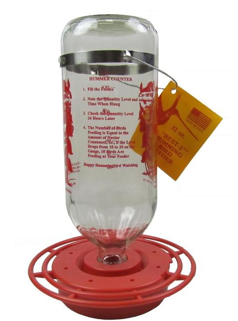 Original Best-1 HummingBird Feeder - Glass Bottle & Plastic Base 32 oz.