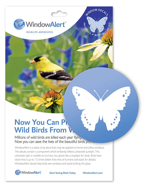 WindowAlert Butterfly Anti-Collision Decal - UV-Reflective Window Decal to Protect Wild Birds from Glass Collisions,