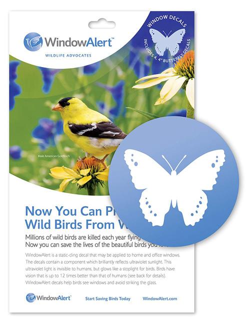 Window Alert 4 Butterfly Decals Protect Wild Birds