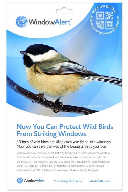 Window Alert 4 Modern Square Decals Protect Wild Birds