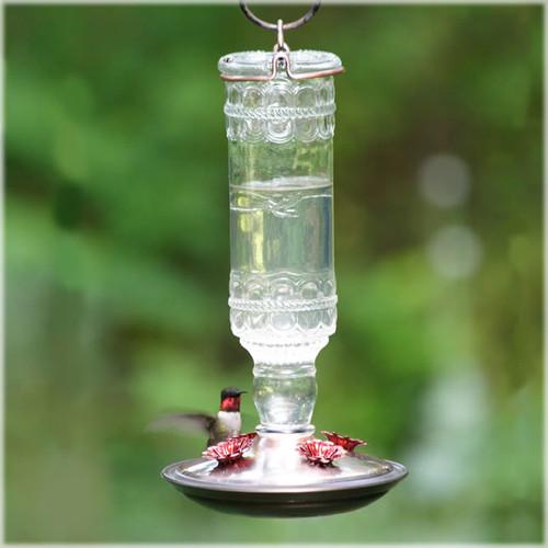 1 Green Antique Bottle 10-Ounce Glass Hummingbird Feeder