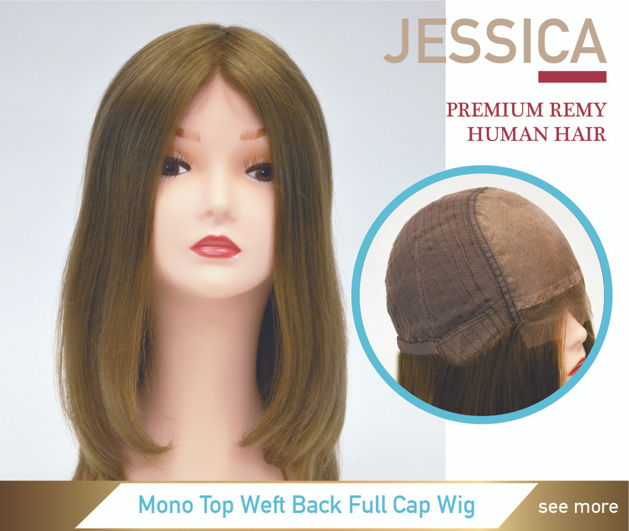 Jessica Premium Human Hair Mono Top Weft Back Women Wig - Superhairpieces.ca 5f2ee7a8a8