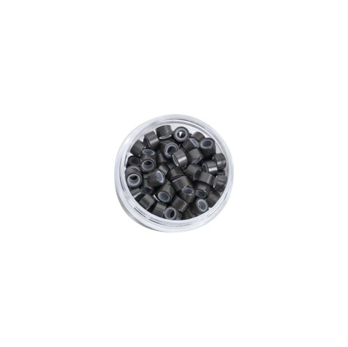 Micro Link Cold Fusion Beads Silicone Liner 100 beads Baking Paint Dark Brown Color