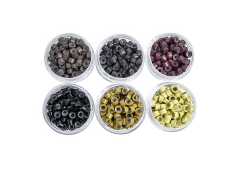 Micro Link Cold Fusion Beads Silicone Liner 100 beads Baking Paint Burgundy Color