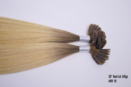 """20"""" Nail Tip Hair Extensions 50 Strands 4A Root Color"""