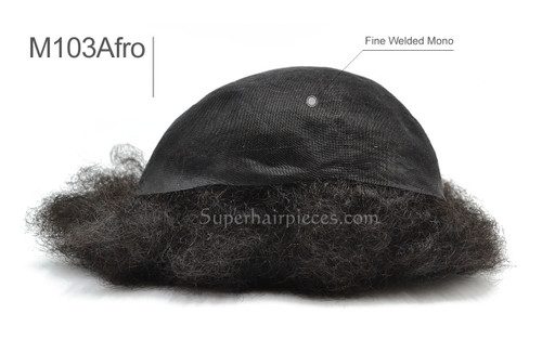 M103 Afro Mens Toupee  Mono top Afro Hairpiece In Stock