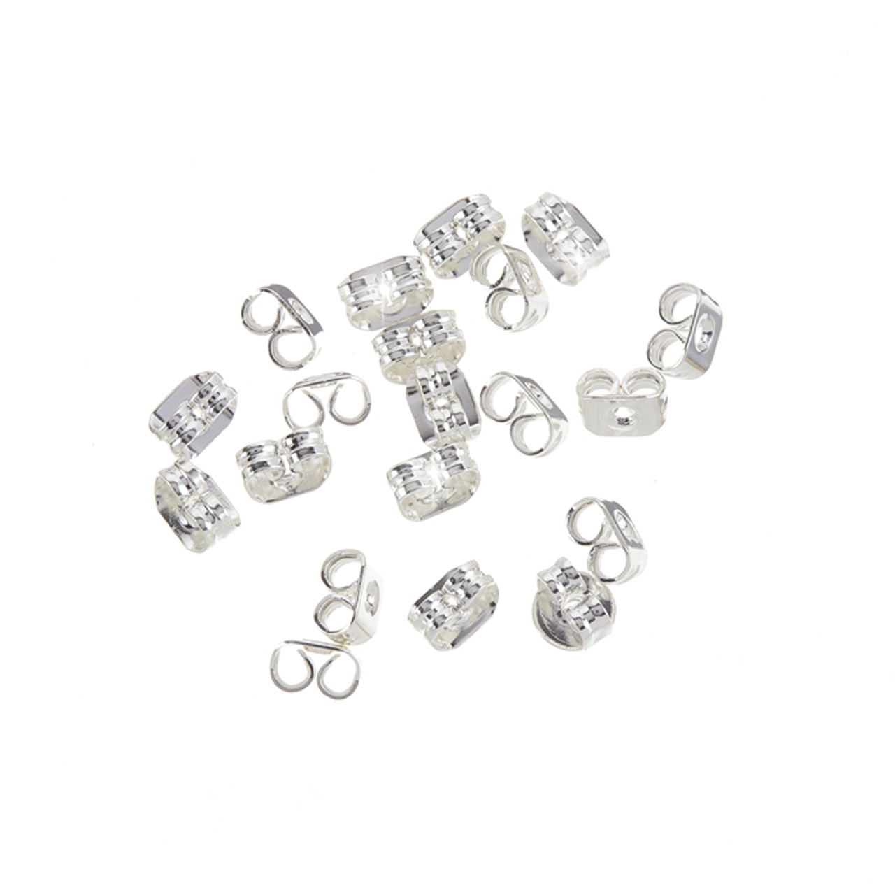 Silver Earring Backs EF233a Silver Plated Butterfly Style 6x4mm 10-100 500-1000 Pieces Ships IMMEDIATELY from California
