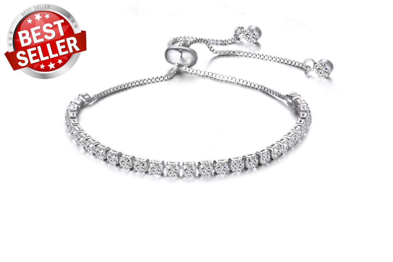 Tennis Slider Bracelet Sterling Silver overlay made with Swarovski Elements  #1 BEST SELLER