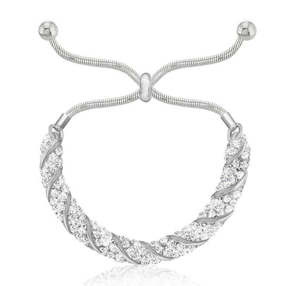 Cluster Slider Bracelet made with Swarovski Crystals- Your choice Sterling Silver or Rose Gold