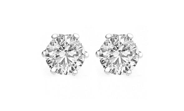 CZ Stud Earrings 4 Carat T.W. Sterling  Silver overlay